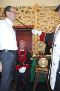 Michel Callot, président, adoubé par le Grand Maitre